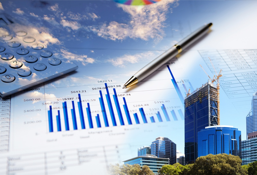 Collage of various business elements. Dollar, stocks, sky, building-1