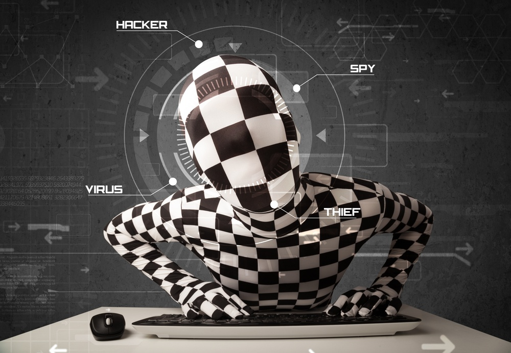 Hacker without identity in futuristic enviroment hacking personal information on tech background